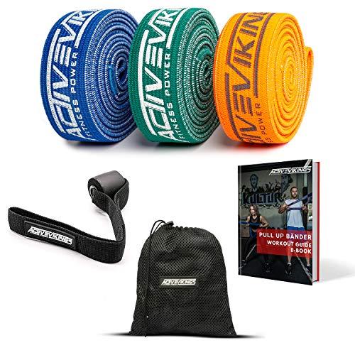 ActiveVikings Premium Pull UP FITNESSBÄNDER FÜR Deine Fitness - Perfekte Stoff Bänder für den Muskelaufbau - FITNESSBAND KLIMMZUGBAND WIDERSTANDSBÄNDER, Resistance Bands - Terraband