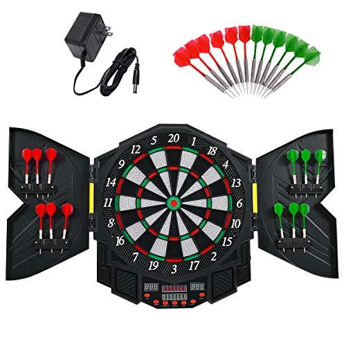 RELAX4LIFE Elektronische Dartscheibe, Dartboard mit 12 Pfeilen & Ersatzsspitzen, Dartautomat mit 27 Hauptspielen & 216 Spielvarianten, Dartplatte für 1-8 Spieler, LED-Bildschirm & Integrationssystem