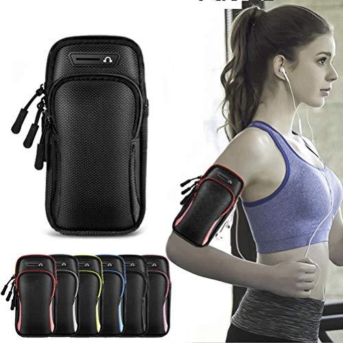 Eastleader Brazalete deportivo impermeable con 2 bolsillos y cremallera avanzada, 18 x 9,5 cm para iPhone, Samsung, LG, HTC, Huawei, HTC, Sony