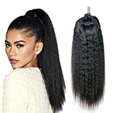 Kbeth Human Hair Ponytail Extensions Yaki Afro Kinky Straight Curly Ponytail Wrap Drawstring Human Hair Natural Black Color Hairpiece with Clip in Binding Pony Tail (14 Inch, Kinky Straight)