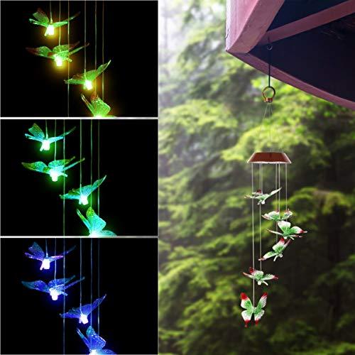 OSALADI Butterfly Solar Windspiele, solarbetriebene Windspiele im Freien Farbwechsel Hängende Windspiele Licht für Outdoor Indoor Garden Yard Pathway Decor