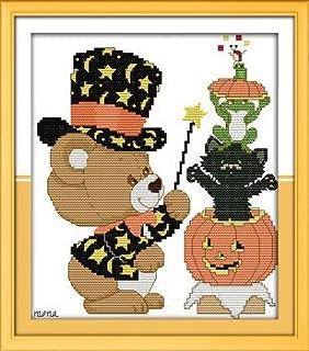 Joy Sunday Cross Stitch kits, Little bear Halloween,11CT Stamped, 28cm×35 or 10.92