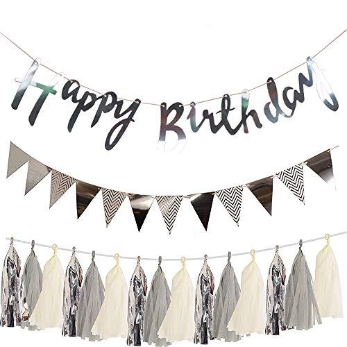 SIMUER Set de decoración de cumpleaños Plata, Cartel Happy