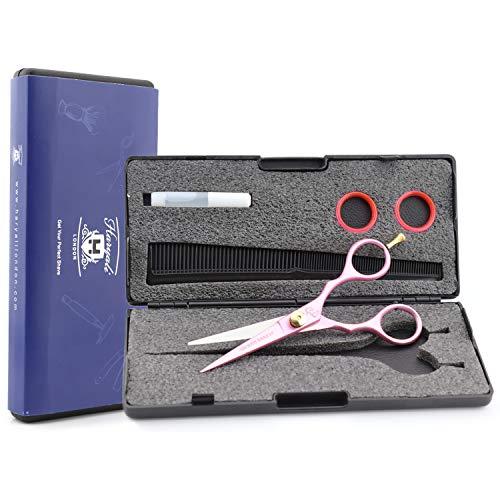 Haryali London - Tijeras de peluquería profesional (5,5 pulgadas), color rosa