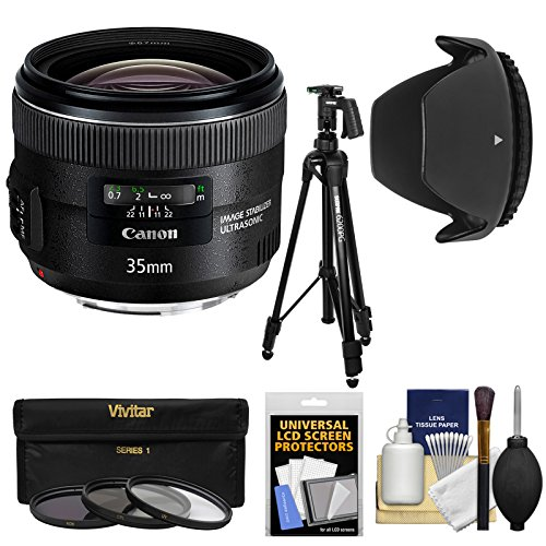 Canon EF 35mm f/2 IS USM Lens with Tripod + 3 Filters + Hood + Kit for EOS 6D, 70D, 5D Mark II III, Rebel T3, T3i, T4i, T5, T5i, SL1 DSLR Cameras