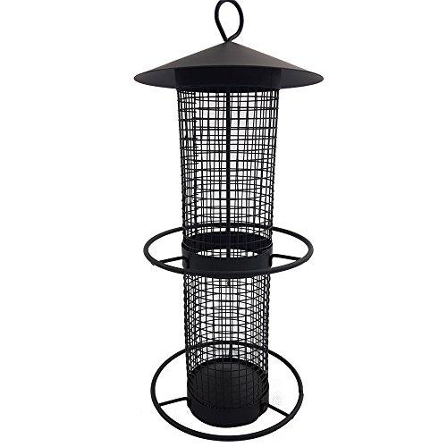 DILUMA Vogelfutter-Station 31 cm Vogelhaus zum Hängen Futterspender aus schwarzem Metallgitter Vogelfutter-Spender perfekt für Nüsse und Sonnenblumenkerne