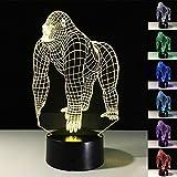 ARMAC Illusion 3D Gorilla - Lámpara de mesa con luz LED (7 colores que cambian de color)