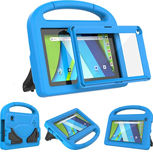 AVAWO Kids Case for RCA Voyager 7inch Tablet (I/ II/ III)- with Built-in Screen Protector - Shockproof Light Weight Stand Case for 7inch RCA Voyager I/II/III/Pro Android Tablet, Blue