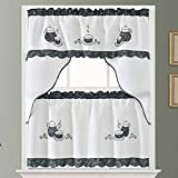 GOHD Golden Ocean Home Decor Coffee Enjoyment. 3pcs Kitchen Cafe Curtain Set. Coffee Pot and Cup Applique Embroidery with Paisley Print Fabric. (Swag and 24 inches Tiers Set)