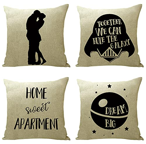 KaiXINSun Throw Pillow Fundas Paquete de 4 Funda de Almohada de 18X18 Pulgadas Funda Decorativa para Sofá de Casa Cuadrada Cremallera Invisible 45X45Cm Patrón de Luna Negra para Pareja