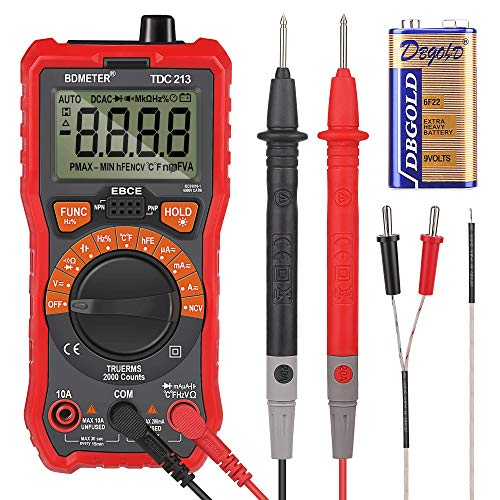 Multimetro Digitale, Zorara Multimetro Voltmetro BDMETER Multimetro Digitale con 6000 Conteggi, Resistenza Corrente Continua Transistor Diodo Tester di Continuità 1000 V, True RMS per elettricisti