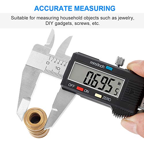 Digital Caliper 6 inch Vernier Caliper Digital Measuring Tool Stainless Steel Caliper Tool Inch/Metric Conversion Large LCD Screen Auto-off Feature