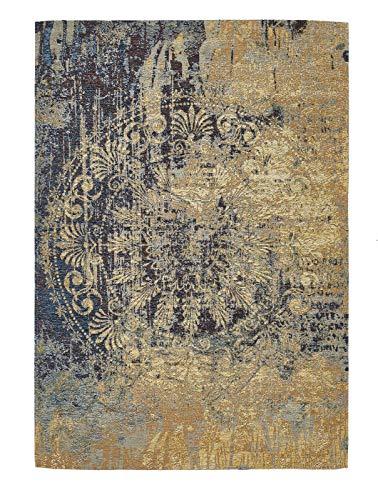 Luxor Living Vintageteppich Barock, Designerteppich, hochwertig, robust, pflegeleicht, Farbe:Beige-Blau, Größe:80 x 150 cm