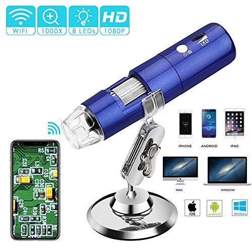 TIANQING Digitale microscoop met wifi, USB, 1080p HD, 2MP camera, mini-pocket, handheld, draadloos, met 8 leds, compatibel met Windows/Android/iOS-apparaten