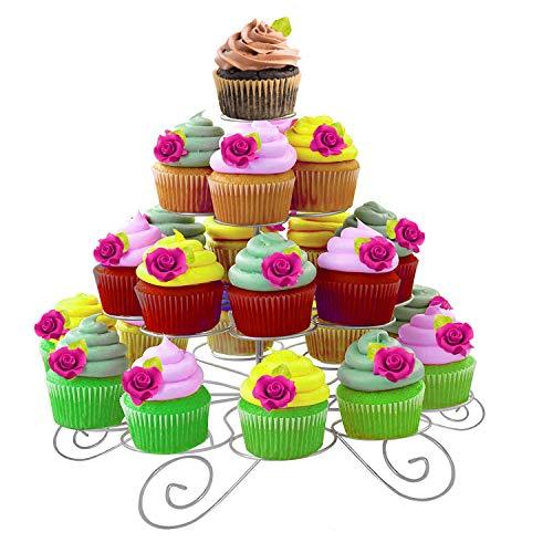 Kurtzy Cupcake Ständer - 30cm Silber Kuchenständer Hält 23 Törtchen Mit Inbusschlüssel und Schraubenschlüssel - 4-stöckig Metall Muffinständer aus Draht für Hochzeit, Geburtstag, Baby Shower