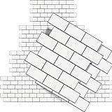 16 Piezas Papeles Pintados Blancos de Azulejos de Metro 3D Protector contra Salpicaduras para Pelar y Pegar Papel Autoadhesivo de Azulejos de Epoxi de Metro para Pared, 10 x 10 Pulgadas