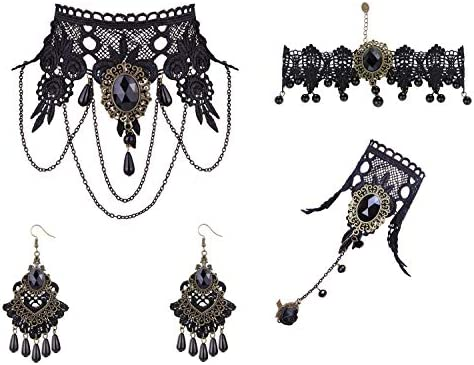 Finrezio Black Lace Choker Earrings Hand Slave Bracelet Wristband Ring Set for Women Punk Party product image