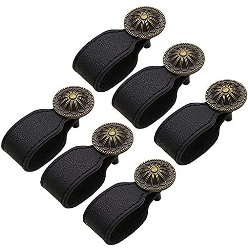 HIAQIMEI Tirador de Puerta de Cuero Negro Vintage de 6 uds, Tiradores de cajón para Maleta, Armario, Armario, Caja de Madera, herrajes para Muebles
