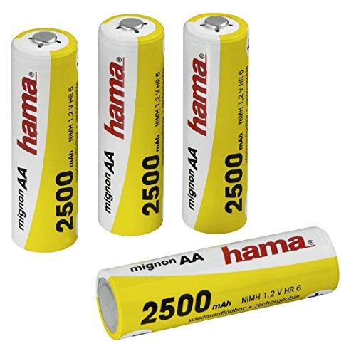 Hama Lot de 4 accus (LR06, 2500 mAh, rechargeable, 4 piles NiMH, 1,2 V, adapté aux téléphones sans fil) Jaune/Blanc
