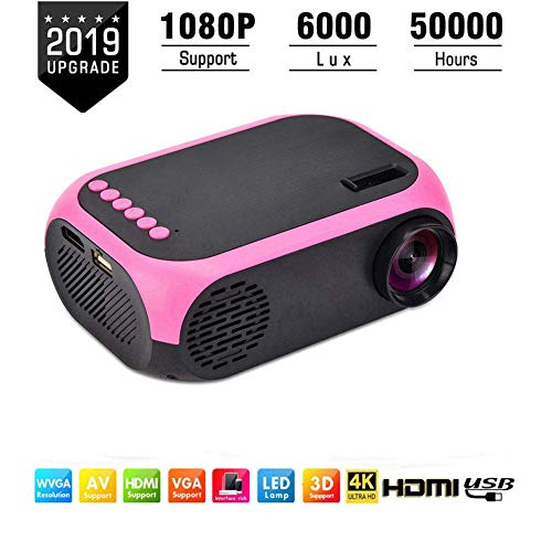 ASHATA Mini Beamer,Tragbar Handheld 1080P Videoprojektor Heimkino Beamer LED Projektor,Home Theater LED Mini Projektor HD Multimedia Beamer,Unterstützung USB/SD/HDMI/AV(EU)
