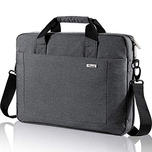 Voova Laptop Bag 15.6 15 14 Inch Briefcase, Expandable Computer Shoulder Messenger Bag Waterproof Carrying Case Handbag with Tablet Sleeve, Organizer for Men Women, Business Travel College School-Grey