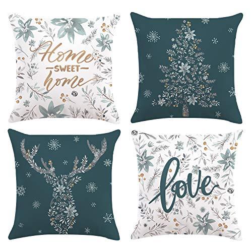 Bonhause 4er Set Kissenbezüge 45 x 45 cm Winter Schneeflocke Graue Blumen und Blätter Samt Soft Dekorative Kissenhülle Zierkissenbezüge für Sofa Schlafzimmer Wohnzimmer Auto Zuhause Dekoration