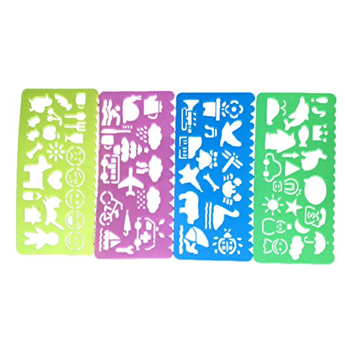hosaire 4pcs regola Stencil in plastica kawaii, motivo Ruler Graphics regola forniture scolastiche modello di disegno per Giornale DIY ideale regalo per bambino 4motivi