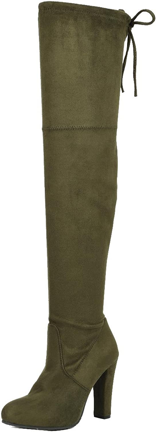 Forever Link Women's Stacked Chunky Heel Stretch Thigh High Pull On Boot