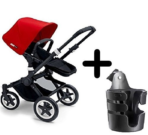 Check Out This Bugaboo 2015 Buffalo Stroller Complete Set in Black/Red Canvas Fabric Set + Bugaboo C...