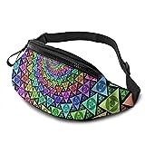 Ungewöhnliche farbenfrohe Gürteltasche mit geometrischem abstraktem Muster, mit Kopfhörerloch,...