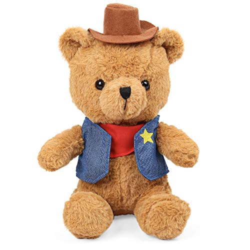 LotFancy 12'' Cowboys Teddy Bear Stuffed Animal, Soft Cuddly Stuffed Bear Plush, Cute Stuffed Animals Toys for Kids, Boys Girls, Great Gifts for Toddlers on Birthdays, Christmas, Thanksgiving Day