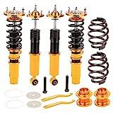 maXpeedingrods Juego de Amortiguadores de Choque Ajustables 2 Piezas Delanteras y 2 Traseras Suspensión de Neumáticos Coches Kit Coilover para E46 3 Series 320i 323i 325 [EU STOCK]
