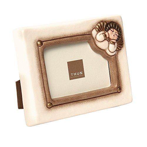 THUN - Cornice Portafoto Rettangolare con Angelo da Parete o da Tavolo - Formato Foto 10,5x7 cm - Color Avorio - Ceramica - Linea Cuore