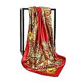 La sciarpa di seta quadrata rossa da 90 cm è alla moda, di colore fresco, morbida e setosa, è un must per le donne in estate