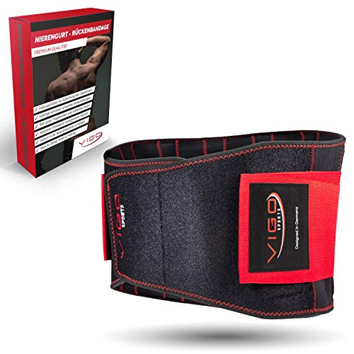 Vigo Sports Rückenbandage waschmaschinenfest - Anti-Schweiß Nierengurt für effektive Stabilisierung des Rückens - Rückenstützgürtel für Herren & Damen - wärmender Lendenwirbelstütze Gürtel