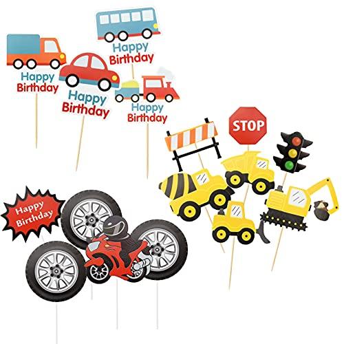 tao pipe Cupcake Topper, 32 Stücke Bagger Baustellenfahrzeug Verkehr Muffin Deko Topper für Jungen Kinder Geburtstag Party Dekoration Babyparty Familienessen Abschlussfeier