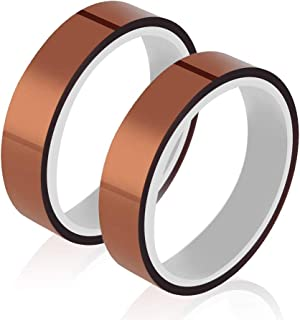 High Temperature Heat Resistant Tape Sublimation Tape for Heat Transfer 3D Printers Heat Resistant Polyimide Tape Adhesive for Masking, Soldering 2 Rolls 10mm x 33m 108ft