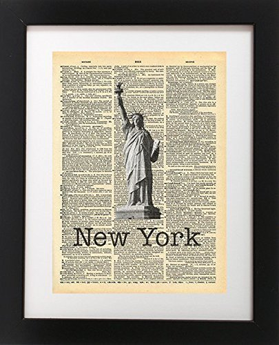 Statue Of Liberty New York City Vintage Dictionary Print 8x10 inch Home Vintage Art Abstract Prints Wall Art for Home Decor Wall Decorations For Living Room Bedroom Office Ready-to-Frame
