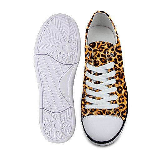 Zapatillas de Deporte para Hombre, de Lona Baja, con Estampado de Leopardo, Color marrón, Color, Talla 44 EU