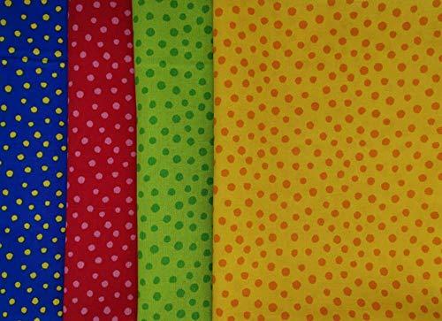 Westfalenstoffe * Junge Linie * Stoff Paket Tupfen * 4 Fat Quarter gelb-rot-grün-blau