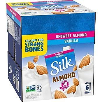 Silk Almond Milk Unsweetened Vanilla 32 Fluid Ounce  Pack of 6  Vanilla Flavored Non-Dairy Almond Milk Dairy-Free Milk  3-Boxes