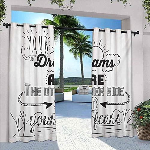 Quotes - Tenda impermeabile per gazebo Your Dreams is the other Side of Your Fears Reminder Winner Optimistic Challenges, adatta per padiglioni da terrazza, 172 x 96 cm, colore: Nero Bianco