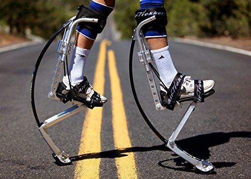 ADULT JUMPING STILTS by AIR TREKKERS BW EXTREME 1 Pair of Spring Loaded JUMP STILTS are Cool Gifts for Men Flips, Tricks, Exercise, Fitness, Cardio BOUNCE SHOES with PROTECTION PADS & KNEE SUPPORT