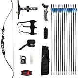 Bkisy Recurve Bow Set 20 28 32 36 38lbs Archery Bow Aluminum Alloy Takedown Recurve Bow Right Hand Bow with 12 Arrows for Adults Youth Hunting Shooting Practice Competition (Black, 24 LBS)
