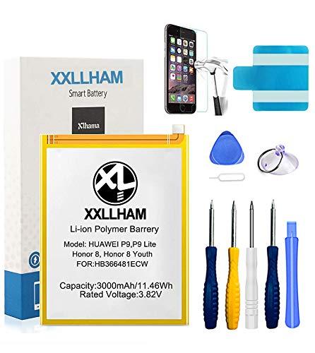 XXLLHAM Batteria Compatibile con Huawei P9 Lite/P9/Honor 8/Honor 8 Youth 3000mAh Batteria di Ricambio HB366481ECW con Kit di Strumenti di Riparazione e Adesivi