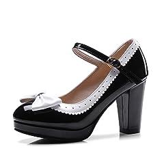 16182e59d95 HILIB Woman s High Heel Lolita Shoes Cute Bowknot Mary Jane Shoes