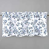 DriftAway Claire Watercolor Floral Leaves Room Darkening Window Curtain Valance Rod Pocket 52 Inch by 18 Inch Plus 2 Inch Header Navy Gray 1 Pack