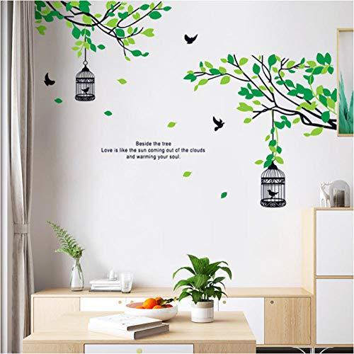 Grüne Weide Vogelkäfig Wandaufkleber Wohnkultur Raumdekoration Wohnzimmer Hintergrund Wanddekoration selbstklebende Aufkleber 70cmx155cm