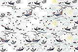 1m Jersey Stoff mit tollem Sommer Motiv | Schiffe - Möwen