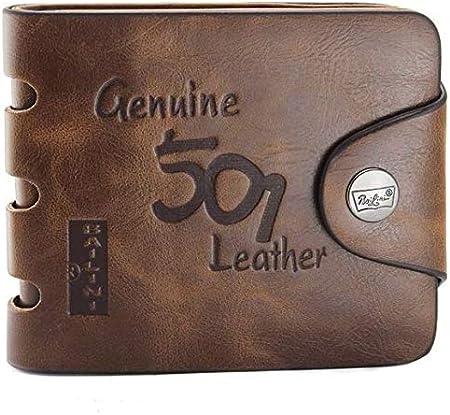 محفظة ثنائية الطي من جلد أصلي للرجال F1240 بلون بني